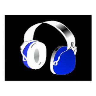 Deejay headphones in blue postcard