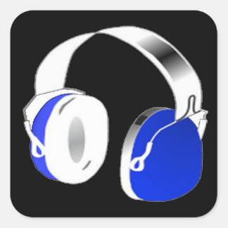 Deejay headphones in blue square sticker