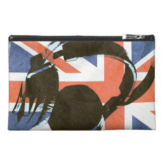 deejay headphones on grunge union jack travel accessory bags