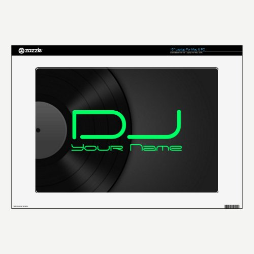 Deejay Laptop Skin with Vinyl Background