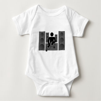 Deejay with Turntable and speakers Baby Bodysuit
