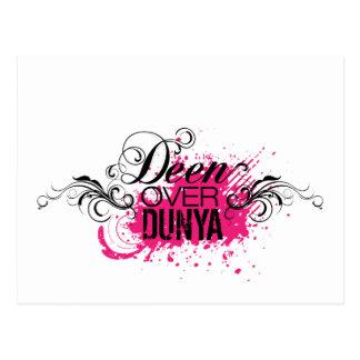 'DEEN OVER DUNYA' - Pink and Black Postcard