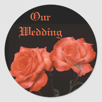 Deep Apricot Bronze Roses Classic Round Sticker