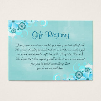 Deep Aqua Blue Teal Turquoise Gift Registry Cards