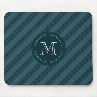 Deep Aqua Navy Blue Attractive Classy Pattern Mouse Pad