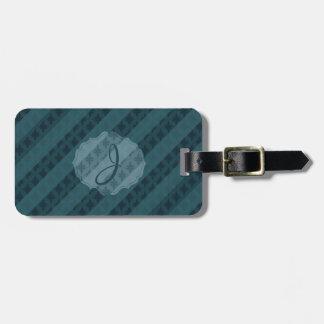 Deep Aqua Navy Blue Attractive Classy Pattern Tag Bag Tags