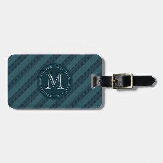 Deep Aqua Navy Blue Custom Monogram Luggage Tag