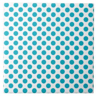 Deep Aqua Polka Dots Ceramic Tile