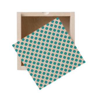 Deep Aqua Polka Dots Wooden Keepsake Box