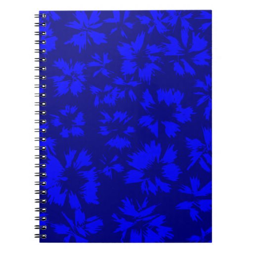 Deep blue abstract floral pattern. spiral note books