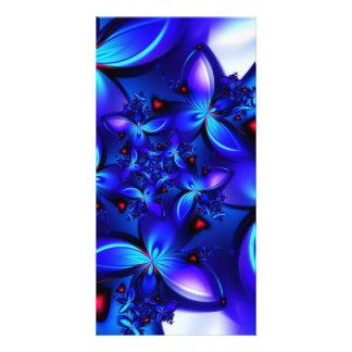 DEEP BLUE ABSTRACT FRACTALS GEOMETRIC DIGITAL ART PHOTO CARD