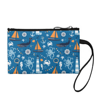 Deep Blue All Things Nautical Coin Wallet