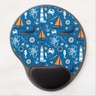 Deep Blue All Things Nautical Gel Mouse Mats