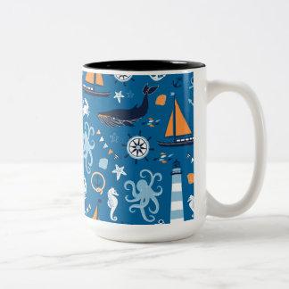 Deep Blue All Things Nautical Two-Tone Coffee Mug