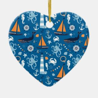Deep Blue All Things Nautical Christmas Tree Ornament
