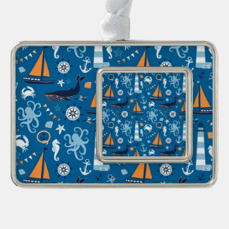 Deep Blue All Things Nautical Silver Plated Framed Ornament