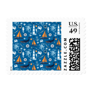 Deep Blue All Things Nautical Postage Stamp