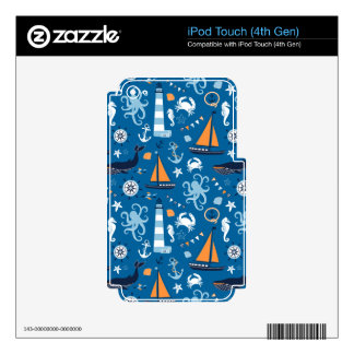 Deep Blue All Things Nautical Decal For iPod Touch 4G