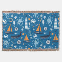 Deep Blue All Things Nautical Throw Blanket