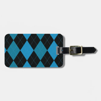 Deep Blue and Black Argyle Pattern Luggage Tag
