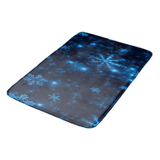 Deep Blue and Bright Snowflakes Large Bath Mat