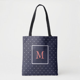 Deep Blue and Coral with White Polka Dots Tote Bag
