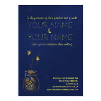 Deep blue and gold  firefly Wedding Invitation