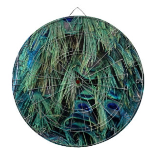 Deep Blue And Green Peafowl Feathers Dartboard