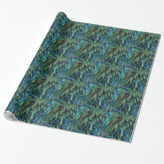 Deep Blue And Green Peafowl Feathers Wrapping Paper