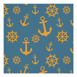Deep Blue and Orange Anchors Pattern Poster