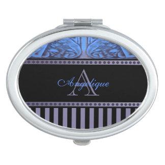 Deep Blue and Plum Purple Combo Design w Monogram Mirror For Makeup