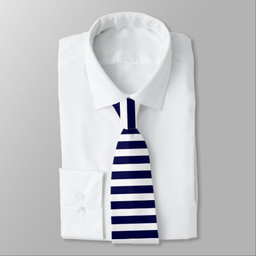 Deep Blue and White Horizontally-Striped Tie