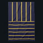 """Deep Blue and Yellow Stripes Hand Towel<br><div class=""""desc"""">A modern blue and yellow striped kitchen towels.</div>"""