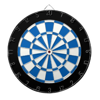 Deep Blue Black And White Dartboard With Darts