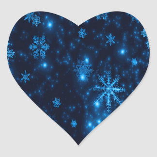 Deep Blue & Bright Snowflakes Heart Sticker