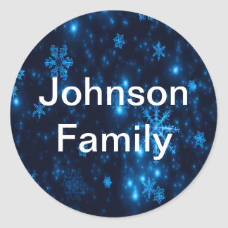 Deep Blue & Bright Snowflakes Round Sticker