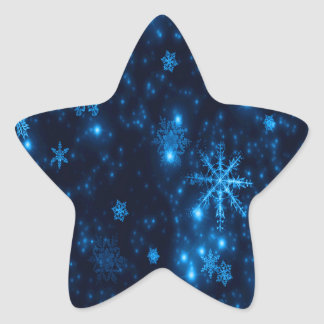 Deep Blue & Bright Snowflakes Star Sticker