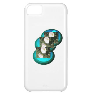 Deep Blue Circles White Flowers Iphone Case. Cover For iPhone 5C