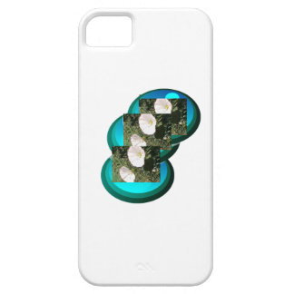 Deep Blue Circles White Flowers Iphone Case. iPhone SE/5/5s Case