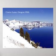 Deep Blue Crater Lake Oregon USA Travel Poster