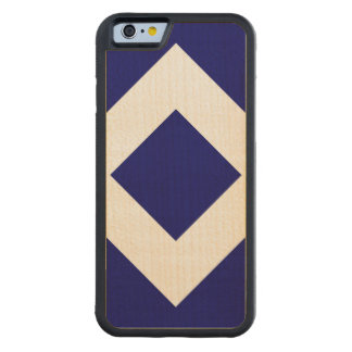 Deep Blue Diamond, Bold White Border Carved Maple iPhone 6 Bumper Case