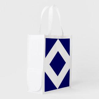 Deep Blue Diamond, Bold White Border Grocery Bag