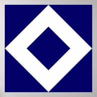 Deep Blue Diamond, Bold White Border Poster