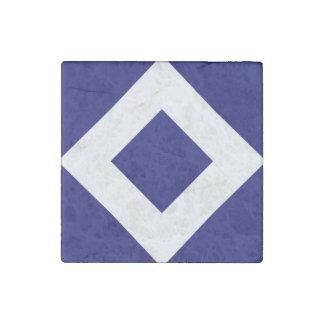 Deep Blue Diamond, Bold White Border Stone Magnet