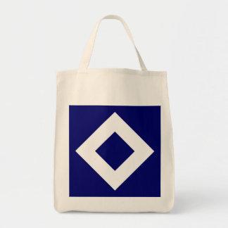 Deep Blue Diamond, Bold White Border Tote Bag