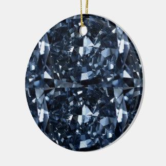 Deep Blue Diamond Effect Ceramic Ornament