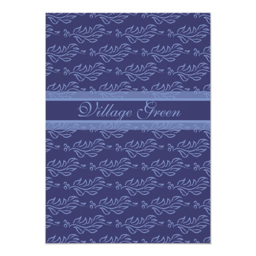 Deep Blue Elegant Party Arts and Crafts Style 5x7 Paper Invitation Card