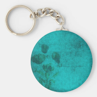 deep blue faded flowers keychain