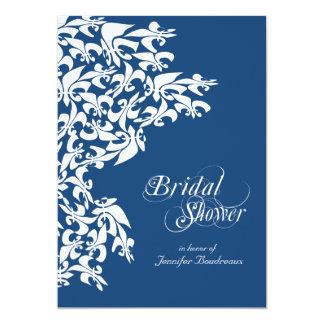 Deep Blue Fancy Fleur de Lis Bridal Shower Card