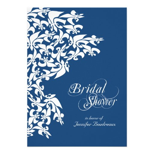 Deep Blue Fancy Fleur de Lis Bridal Shower Custom Invite